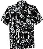 *La Leela* Chemise Mens Arbre Lisse de Palme de Likre Laisse Manchon Beachwear Noir XL