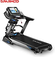 Sparnod Fitness STH-6000 3 HP (6 HP Peak) Automatic Motorized Treadmill for Home Use - Large 15.6 inches Touchscreen Display