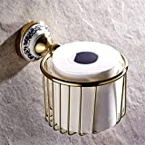 ZHANGY Todo el Cobre Continental Papel higiénico sanitarias de Rollo de Papel de Cocina Creativa de Bombeo Porta Papel higiénico Papel higiénico Almacenamiento Caja Cartucho Color Oro zirconio (:)