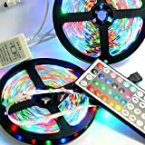 ALight House RGB Multicolour Changing and Flow LED Light Strip 16.4feet and 12V 2A Power Adapter with 44Key Remote Controller for Indoor Gardens Home Kitchen Bar