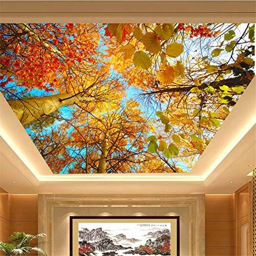 Qqasd HD Schöne Herbst Maple Leaves Fototapete 3D Decke Wandgemälde Wohnzimmer Hotel Dekor Papel De Parede 3D Paisagem-300X210CM -
