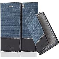 Cadorabo - Custodia Book Style per Huawei HONOR 6 PLUS Design Tessuto - Similpelle con Chiusura Magnetica Invisible, Supporto Funzione e Vani di Carte - Etui Case Cover Involucro Bumper in AZZURRO-SCURO-NERO
