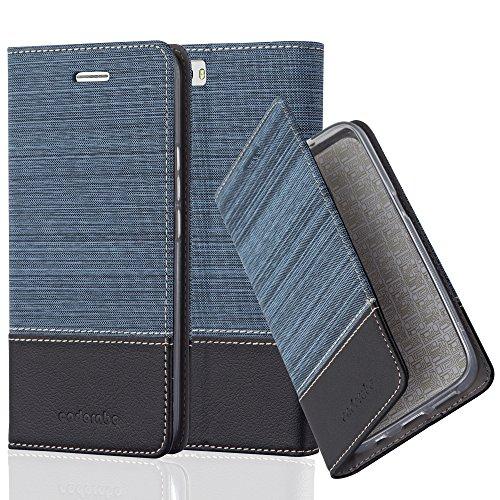 Cadorabo Hülle für Honor 6 Plus - Hülle in DUNKEL BLAU SCHWARZ – Handyhülle mit Standfunktion und Kartenfach im Stoff Design - Case Cover Schutzhülle Etui Tasche Book