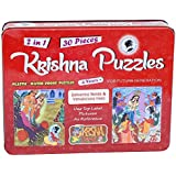 Krishna Puzzles| Delivering Yamalarjuna Trees and Nanda | Jigsaw 2-in-1 Plastic| Waterproof Puzzles (Red)