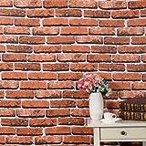 Glow4u Kunstleder Rot Brick Muster, Kontakt Papier Regalen Selbstklebendes Vinyl Tapete für Wände Badezimmer Küche Duett Wohnzimmer Schlafzimmer Aufkleber 61cm wx196L