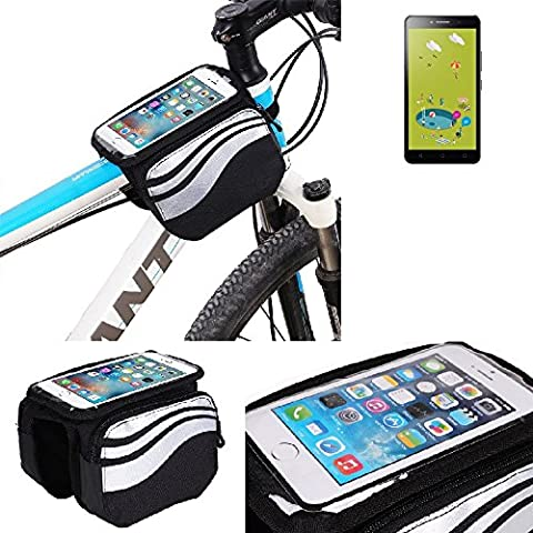 For Alcatel Pixi 4 (6 Zoll) 3G 8 GB: Cycling Frame Bag, Head Tube Bag, Front Top Tube Frame Pannier Double Bag Pouch Holder Crossbar Bag, black-silver water resistant -