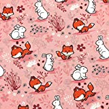 0,5m Jersey Fuchs & Hase auf rosa 95% Baumwolle 5% Elasthan Motivgröße ca. 4cm