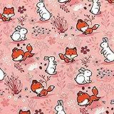 0,5m Jersey Fuchs & Hase auf rosa 95% Baumwolle 5% Elasthan