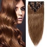 Clip In Extensions cheveux raides Günstig Extensions en cheveux naturels Remy 8Mèches 18clips Lisse