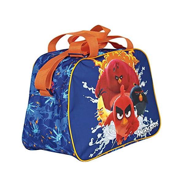 61O m4IVsuL. SS600  - PERLETTI Bolso Deportivo Niño Angry Birds Azul Naranja – Bolsa de Deporte Infantil con Red Bomb Chuck y Terence para el Gimnasio Viajes Escuela Sport - Azul - 28x41x21 cm