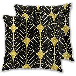 Housse de Coussin Artdeco - Motif géométrique doré et Noir - Lot de 2 taies d'oreiller carrées - pour canapé, Chaise, canapé, Chambre à Coucher