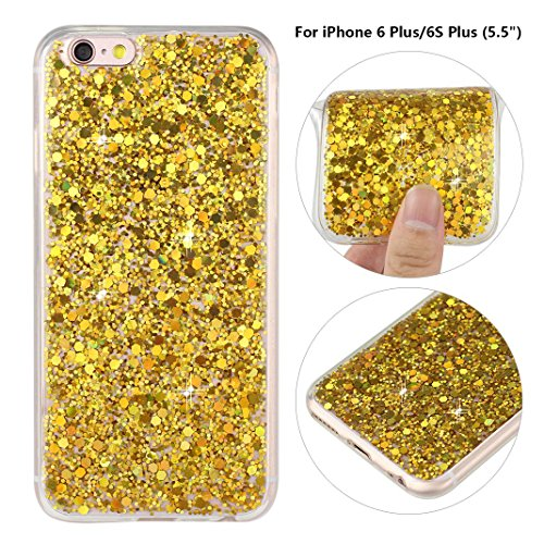 iPhone 6S Plus Hülle, iPhone 6 Plus Glitzer Case Rosa Schleife 3D Bling Shiny Case Transparent TPU Silikon Back Cover Glitter Glitzer Tasche Handyhülle Bling Schale Etui Tasche Case Cover Beschützer H B - Gold