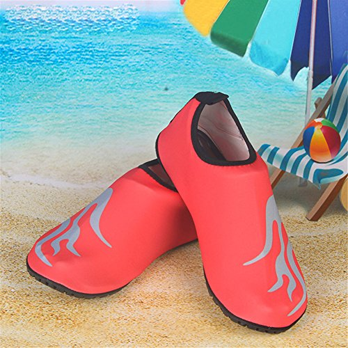 Moolecole Unisexe Extérieur Barefoot Eau Sports Aqua Chaussures Aqua Chaussettes pour Beach Natation Surf Peau Fitness Yoga Chaussures Rouge&Flamme