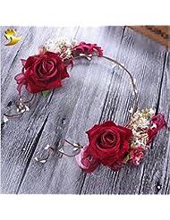 Couronne de coiffure de mariée, accessoires de fleur de tête, mariage de mariée Couronne féminine de Sen fait à la main