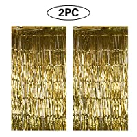 2 Pack Foil Metallic Curtain Fringe Tinsel Curtain Door Backdrop Shimmer Curtain 1× 2 M Birthday Party Decorations(Gold)