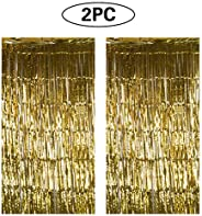Foil Metallic Curtain, 2 Pack Foil Fringe Tinsel Curtain Photo Booth Door Backdrop Curtain Decorations 1× 2 M for Birthday W