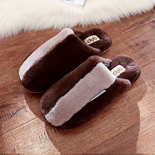 DogHaccd pantofole,La sig.ra spesse pantofole di cotone home inverno incantevoli interni lussuosi Bow Tie pantofole di peluche maschio Il caffè1