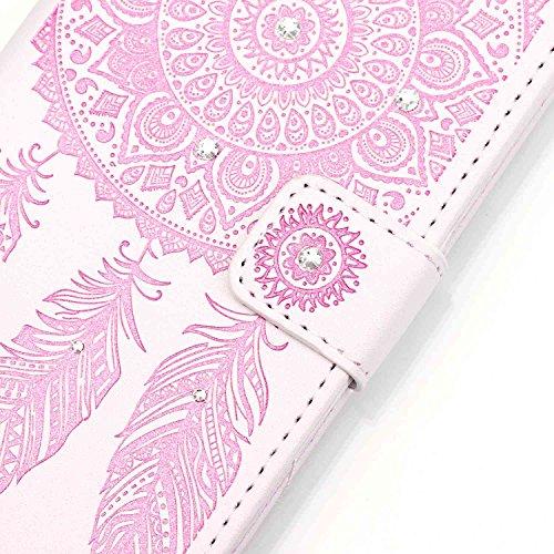 SainCat iPhone 5 / 5s / SE Custodia in Pelle Flip,Neo Elegante Personalizzata Dipinto Modello PU Leather Soft Morbido Libro Wallet Portafogilo Porta carte di Cover Case,Stand Stare in piedi Chiusura M Bianco Rosa