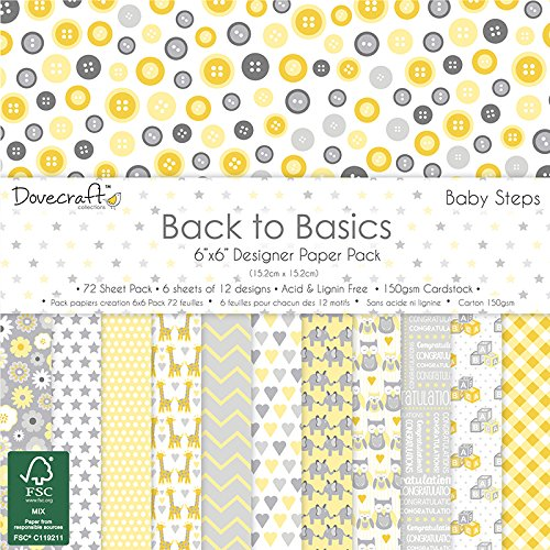 dovecraft-back-to-basics-bebe-pasos-tarjeta-craft-paper-pad-6-x-6-150gsm