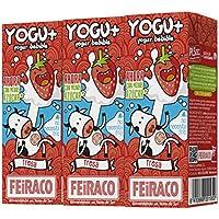 Feiraco Yogur Semidesnatado sin Lactosa Azucarado con Fresa - Paquete de 8 x 600 ml -
