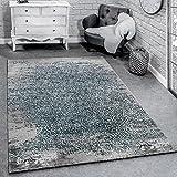 Paco Home Designer Teppich Modern Wohnzimmerteppich mit Muster Ornamente Grau Blau, Grösse:120x170 cm