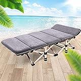 zhedieyi Lounge Chair Folding Mittagspause Bürostuhl Bett tragbaren Tisch und Stuhl Bett Klappbett Outdoor Camping Bed Krankenpflege Bett, 190 grau (71 cm) + Suede Wildleder Pad