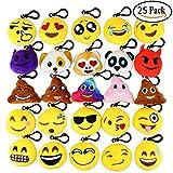 Aiduy Emoji Schlüsselanhänger Party Favors Plüsch Schlüsselanhänger Tasche Anhänger (Set von 25)