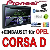 Opel Corsa D Silber - Pioneer FH-X720BT - 2DIN USB Bluetooth CD Autoradio Apple iPod/iPhone-Direktsteuerung - Einbauset