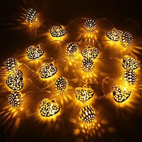 Xcellent Global Batteriebetriebene 20 LED 2 Modi Lichterschnur warmes weißes Morocco Globus und Herzen-Lichterkette für Weihnachten, Erntedankfest, Hochzeit, Party, Garten, Rasenfläche, Terasse Dekoration LD082