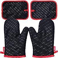 Juegos de guantes para horno DEIK, guantes de cocina resistentes al calor hasta 240 ℃ con silicona antideslizantes para cocinar, hornear, asar - Color Negro
