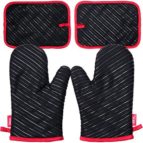 Deik Ofenhandschuhe und Topflappen,Hitzebeständige Handschuhe bis zu 240℃, Silikon Anti-Rutsch Grillhandschuhe, Geeignet für Kochen,...