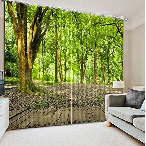 juntop Moderne Wohnzimmer Vorhänge Benutzerdefinierte Vorhänge Park Woods Road Home Schlafzimmer Dekoration Vorhänge Wohnzimmer Fenster 1 W300 H269