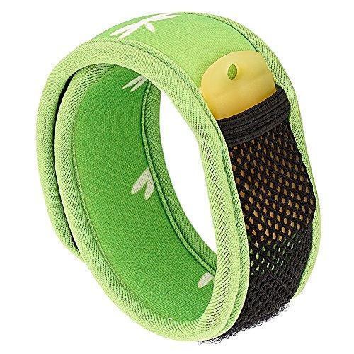 Bramble Premium Mückenschutz, abschreckendes Insekten-Armband mit zwei Nachfüllpackungen. Kann am Arm oder Knöchel getragen werden. Ohne Deet Spray (keine chemische Substanzen) – Grün
