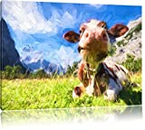 Kuh im Karwendelgebirge Kunst Pinsel Effekt, Format: 120x80 auf Leinwand, XXL riesige Bilder fertig gerahmt mit Keilrahmen, Kunstdruck auf Wandbild mit Rahmen, günstiger als Gemälde oder Ölbild, kein Poster oder Plakat