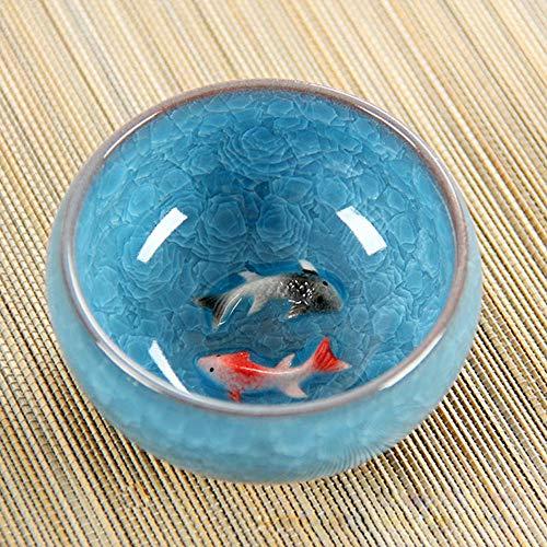 MumuXiDy 3D Keramik Double Fish China Tee Big Cup, Crackle Glaze Travel Teeschale Kung Fu Teeschale Setchinese Porzellan Teetasse Sets - Crackle Glaze