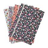 4 chemises en coton SumDirect à motif floral de format A4, pochette de classement de documents avec bouton-pression, pour l'organisation de livres, documents, accessoires scolaires et bureau.