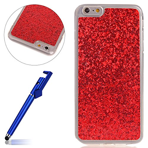 Custodia iphone 6S 4.7, Cover per iphone 6 Silicone, iphone 6S Glitter Cover, MoreChioce Moda Glitter Sparkle Bling bling Brillante Morbido 3d Gel TPU Silicone Gomma Cover Case Custodia per iphone 6 4 C-Rosso