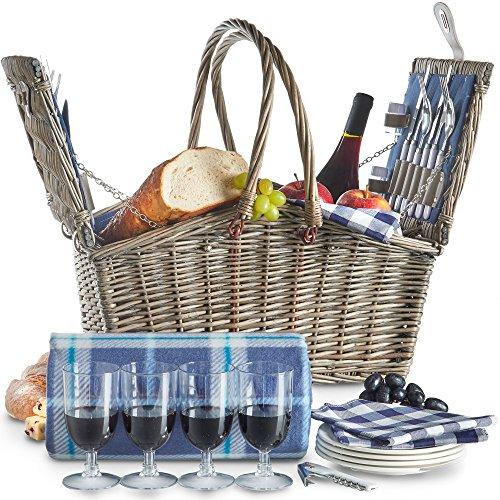 VonShef Deluxe 4 Personen Weidenkorb Picknickkorb Einklappbarer Griff mit Besteck, Tellern, Gläsern, Geschirr & Vliesdecke