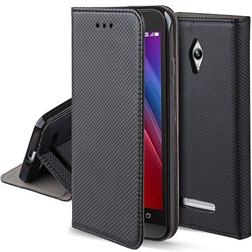 Moozy Hülle Flip Case für ASUS Zenfone Go ZC500TG, Schwarz - Dünne magnetische Klapphülle Handyhülle mit Standfunktion