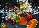 Artland Qualität I Alu Küchenrückwand Spritzschutz Küche 90 x 65 cm Obst Foto Bunt F1SW Spritzendes Obst auf Dem Wasser