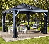 Sojag Aluminium Pavillon Überdachung South Beach // 363x363 cm // Sommerpavillon und Gartenlaube mit Hard-Top Dach von Sojag inkl. Moskitonetz