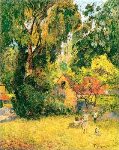 wood-print-90-x-110-cm-huts-under-the-trees-by-paul-gauguin