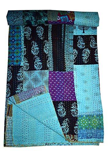 Asian-queen-size-quilt (Tribal Asian Textiles Indian Kantha Quilts Seide Überwurf Queen Size Überwurf Baumwolle Kuscheldecke, Tagesdecke)
