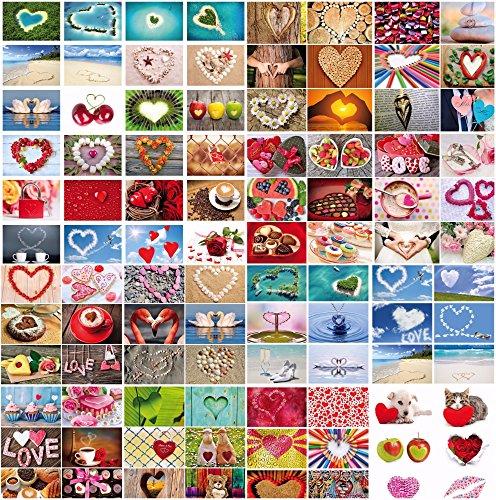 100-er Postkarten-Box LOVE-CARDS von Edition Colibri: Postkarten-Set zum Thema Hochzeit und Liebe mit 100 verschiedenen Herz-Postkarten im DIN A 6-Format in einem edlen Karton (10794-10939) - Wünsche Karte Box Hochzeit