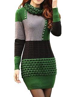 d94cf2d469b864 BININBOX® Damen Kleid Winter Mini Kleid Sweatkleid Langarm Pullover Tops
