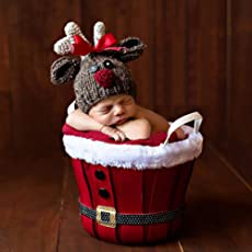 Generic 3 to 4 Month : Newborn Baby Photography Cap Hat Stylish Infant Wool Knitted Christmas Deer Costume Hat Photo Prop Cap for 0-4 Month Baby