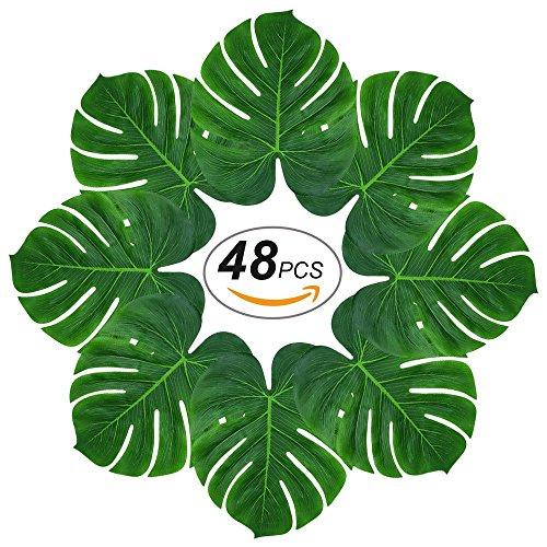 (48Pcs Künstlich Tropische Blätter mit Blattstiel gefälschte Palmblatt Palme Monstera Deko für Hawaii Luau Jungle Beach Party Dekorationen)