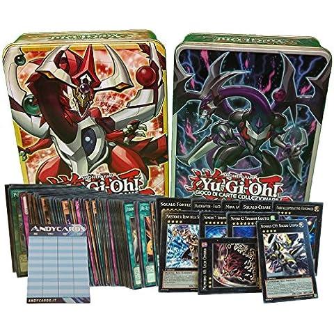 Lotto 50 carte Yu-Gi-Oh! IN ITALIANO con min. 5 mostri XYZ dei quali 2 sono mostri Numero + 1 Tin Portacarte + 1 Segnapunti Andycards