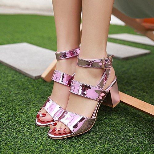 MissSaSa Donna Sandali col Tacco Metà Metallo Colore Pink