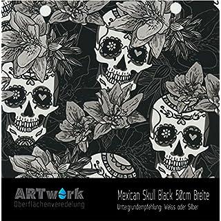 Wassertransferdruck WTD Design Folie ARTwork Mexican Skull Black 50cm Breite